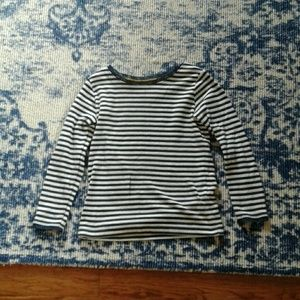 Boden youth 5-6 year blue and white stripes shirt